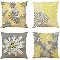 4-Count Docuwee 18 x 18 Inch Flowers Cushion Pillow Covers