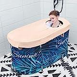HUKOER Bañera portátil, bañera plegable para adultos y bebés, bañera circular para ducha, bañera de hidromasaje familiar con cubierta termostática (10 bolsas de baño)