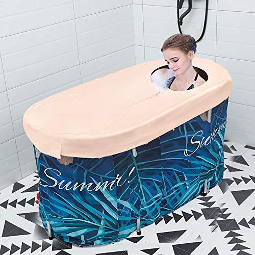 HUKOER Bañera portátil, bañera plegable para adultos y bebés, bañera circular para ducha, baño familiar, bañera de hidromasaje con cubierta termostática (10 unidades)
