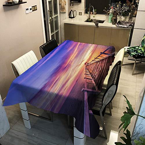 ZHENQI Landscape-Serie, Polyester-Tischdecke, öl- und wasserdicht, Digitaldruck rechteckige Tischdecke, Kaffeetischdecke ZB2105-4 90x90cm