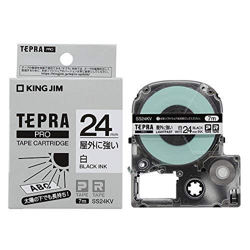 キングジム テプラPROテープカートリッジ 屋外に強いラベル SS24KV 白/黒文字 24mm