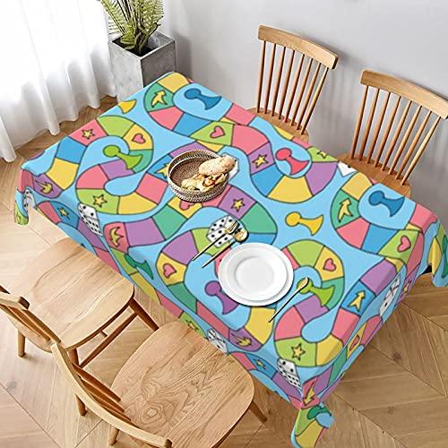 Großes Brettspiel-Muster auf blauer, wasserfester, ölabweisender, abwischbarer Polyester-Vinyl-Tischdecke für Küche, Party, Picknick, Essen, Frühling, Sommer, drinnen und draußen (152,4 x 228,6 cm)