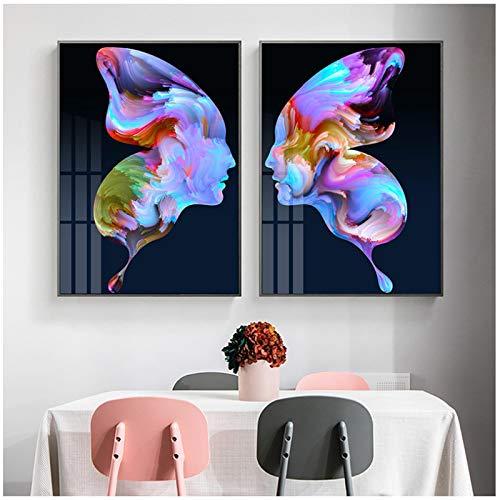 Alas de mariposa abstractas modernas, retrato de cara, arte de pared, pintura en lienzo, carteles e impresiones, impresión, imagen minimalista para decoración del hogar (60x80 cm) × 2 piezas sin marco