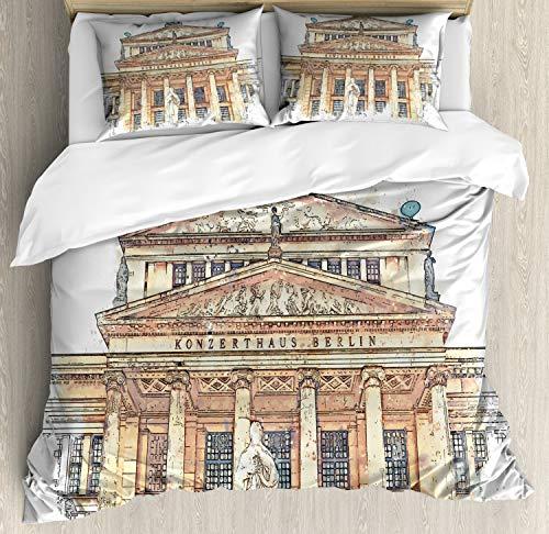 ABAKUHAUS Opera Dekbedovertrekset, Concert House in Berlijn Paint, Decoratieve 3-delige Bedset met 2 Sierslopen, 230 cm x 220 cm, eierschaal Brown