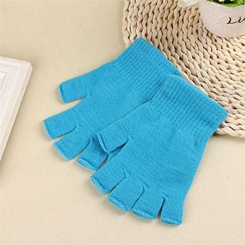 Students Knitted Stretch Elastic Warm Half Finger Fingerless Gloves Men Women Glove for Winter - (Color: LB)