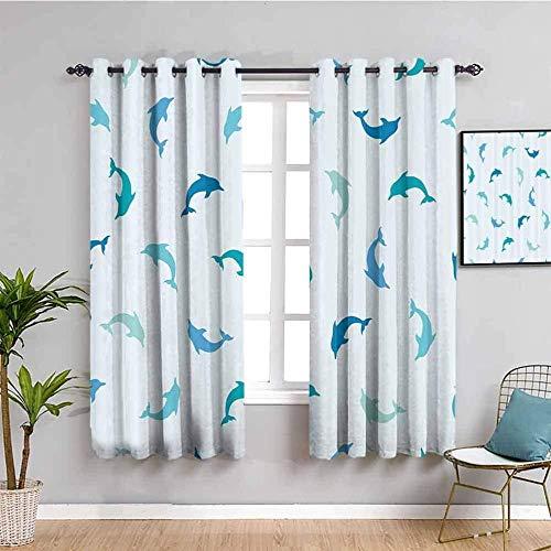 Azbza Cortinas Opacas Salón - Azul delfín minimalista animal - 90% Opacas Proteccion Intimidad - W280 x H290 cm - Salón Dormitorio Cortina Gruesa y Suave para Oficina Moderna Decorativa Cortinas