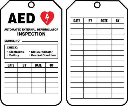 Accuform'AED AUTOMATED External DEFIBRILLATOR Inspection' Pack of 25 PF-Cardstock Inspection Record Tags, 5.75' x 3.25', Red/Black on White, TRS345CTP