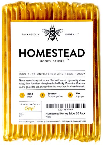 Homestead Honey Sticks, All Natural and Pure American Honey Stix Made with Real Clover Honey (50 Pack)