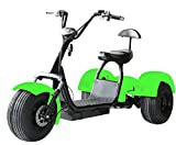 eDrift UH-ES395 Fat Tires 3-Wheel Electric Chopper Trike Scooter Moped with Shocks Harley E-Bike (Green, 25AH 44 Miles)