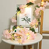 Hydrangea String Lights, Fairy Lights, Battery Operated Garland Artificial Flowers Valentine's Day Party Wedding Garden Decor Room Indoor Outdoor Wall Decoration. (6.5ft 20 LED)
