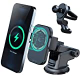 ZeeHoo M1 Magnetic Fast Wireless Car Charger,15W/10W/7.5W Wireless Charging Auto-Clamping Magnetic Car Mount,Windshield Dash Air Vent Holder Compatible iPhone 12/Mini /12 Pro/Pro Max/Magsafe Case