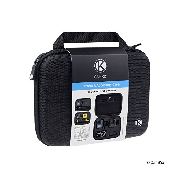 CamKix Case Compatible with GoPro Hero 7 / 6 / 5 Black - Perfect for Travel and Storage - Versatile EVA Interior with… 7 TRAVEL + STORAGE CASE: Keep your GoPro Hero 6 / 5 camera and accessories organized, dust-free and protected inside this case. Grab & Go when you're ready to shoot some spine-chilling action. Store it, when you're not. FOR GOPRO HERO 7/6/5 AND ACCESSORIES: This case is designed specifically for the GoPro Hero 5 Black camera. Tailor made, fits perfectly. The elastic mesh pocket and extra compartments are ideal to store flat mounts, quick release buckles, thumb screws, USB cable, memory cards, etc. VERSATILE INTERIOR: You can remove/add parts of the high quality EVA material to create different interior layouts for various purposes (see pictures for examples). Any interior layout you create will fit your GoPro Hero 5 camera and accessories seamlessly. The shock-absorbing padding provides extra protection to your camera and other equipment stored inside the case.
