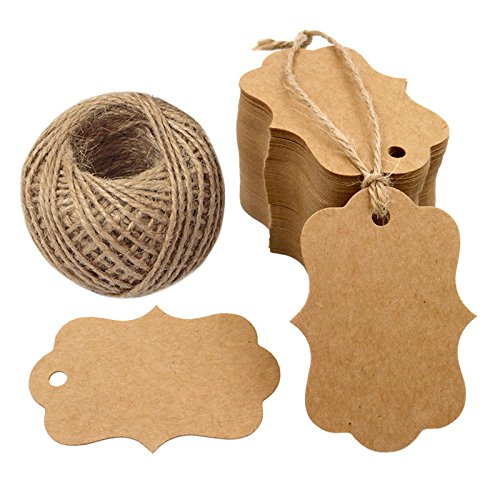 """100 PCS Blank Kraft Gift Tags 2.75"""" x 1.97"""" Paper Hang Tags Price Tags with 100 Feet Jute Twine"""