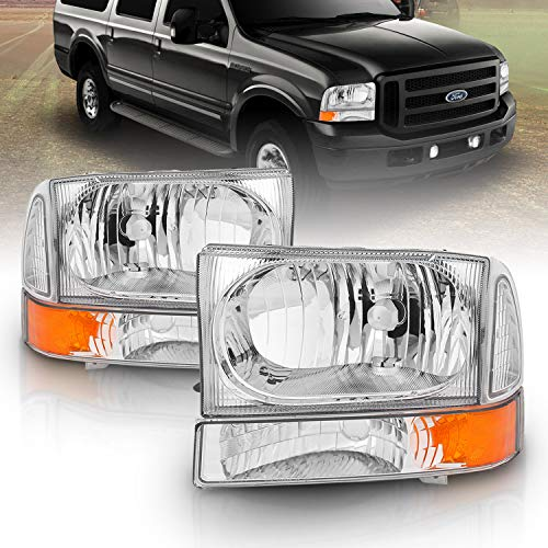 AmeriLite for 1999-04 Ford Super Duty F-250 F-350 F-450 F-550/2000-04 Excursion Chrome Replacement Headlights w/Corner Bumper Corner Set - Passenger and Driver Side
