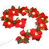 Lvydec Pre-Lit Artificial Poinsettia Flower Garland, 6.5 Feet Lighted Poinsettia Garland with 10 Clear Lights for Christmas Decoration, Battery Operated