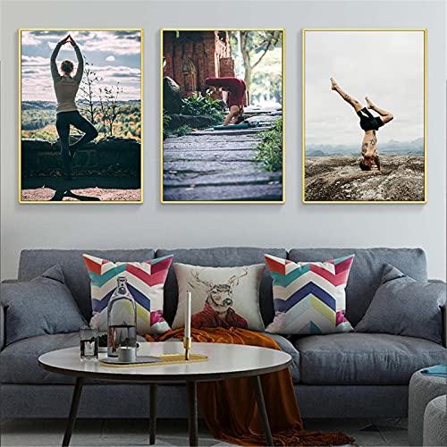 Decoración de dormitorio de niña Carteles e impresiones modernos Fitness Yoga Girl Poster lienzo pintura cuadro de arte de pared decoración de la pared del hogar 50x70cmx3 sin marco