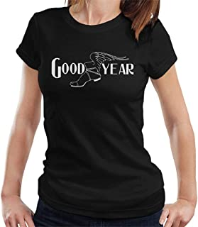 Goodyear Svart och vit logotyp t-shirt för kvinnor