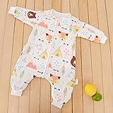 Baby Mäxchen Thermo Schlafsack,Sechsschichtiger einteiliger Baby-Pyjama aus Bambusbaumwolle,trittsichere Steppdecke mit geteiltem Bein-C_70 cm,Schlafsack Baby Baumwolle 100% Bio