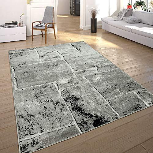 Paco Home Designer Teppich Modern Trendig Meliert Steinoptik Mauer Muster Wohnzimmer Grau, Grösse:80x150 cm