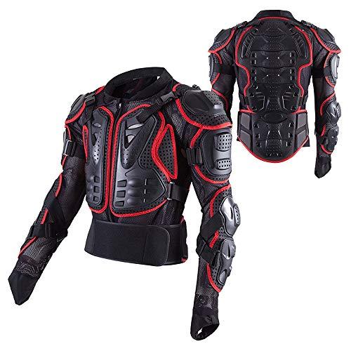 QYTK® Vêtements de Protection Moto Armure avec Protections des épaules Poitrine Dorsales Vestes de Motocross Plastron Gilet et Dos pour Blouson Protection Équipement de Moto Scooter ATV,Rouge,4XL