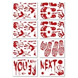 Pawliss Halloween Bloody Party Decorations Window Decals Wall Stickers Decor, Handprint Footprint Horror Bathroom Zombie Decorations Supplies, 12 inches by 17 inches Sheet, 82 Pcs