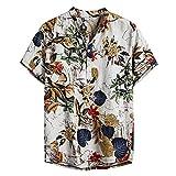 NEWISTAR Camicia in Lino Uomo Vintage Etnico Henley Shirt...