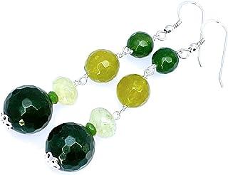 Orecchini in argento 925 con giada verde, prehnite e quarzo, pendenti lunghi, gioielli con pietre naturali, bijoux artigia...