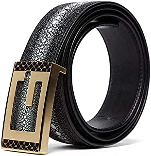 Men's Belt Stingray Fish Skin Genuine Leather Ratchet Dress Belt Automatic Buckle Holeless Adjustable Size,Trim To Fit,Gol...