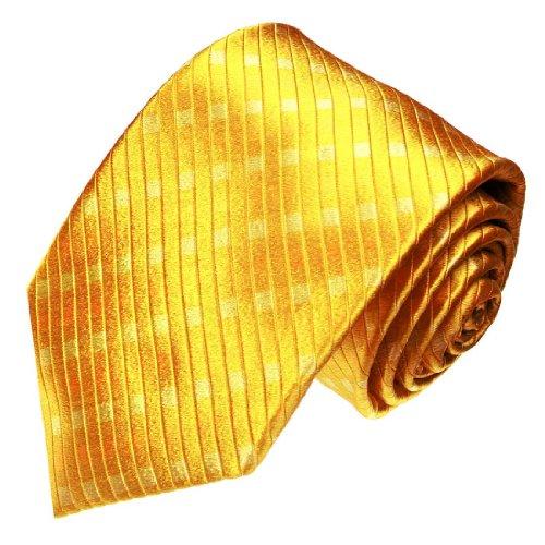 Lorenzo Cana - Hochwertige Marken Krawatte aus 100{f64fefd05ec9bb56447a487c615833e6124123211cbf8f815daeedbbf7920c94} Seide - gelb gold goldgelb Karos - 77041