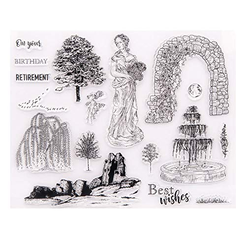 Arrietty Birthday Retirement Women Goddess of Spring Trees Clear Stamps for Card Making Decoration and DIY Scrapbooking Tools Rubber Stamps
