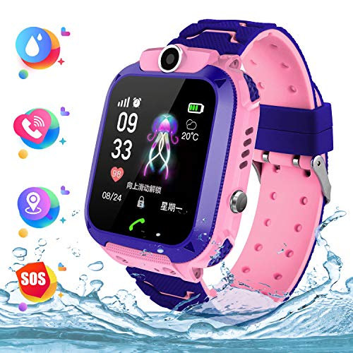 Wasserdichte Student Kinder Smartwatch Telefon - Touchscreen Kinder Spiel Smartwatch , Anruf Voice Chat SOS Taschenlampe Digitalkamera Wecker,   für Jungen und Mädchen Geschenk (Pink)