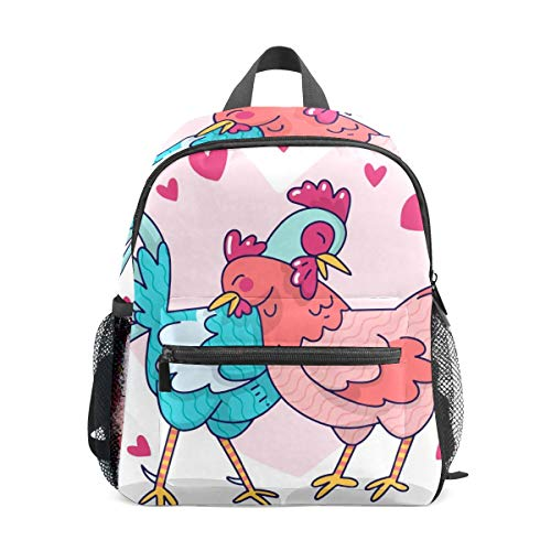 School Backpack for Kid Girls Boys,Travel Children Bag Student Bookbag Casual Daypack Organizer Gift Cute Rooster Hen