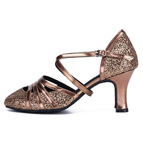 DKZSYIM Women's Bronze Fashion Ballroom Party Glitter Latin Dance Shoes Model 512-7,5.5 B(M) US