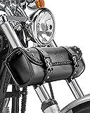 Kemimoto Motorcycle Handlebar Bag, Motorcycle Fork Tool Bag PU Leather Black...