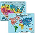 Motivation Without Borders Kids' Laminated USA and World Maps