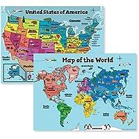 Motivation Without Borders Kids' Laminated USA and World Maps