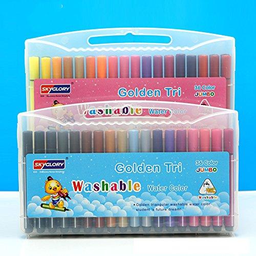 【Pedonir】洗たくでおとせる サインペン 子供用ペン  カラーペン  水でおとせる 水性ペン 幼児 子供 (36色セット)