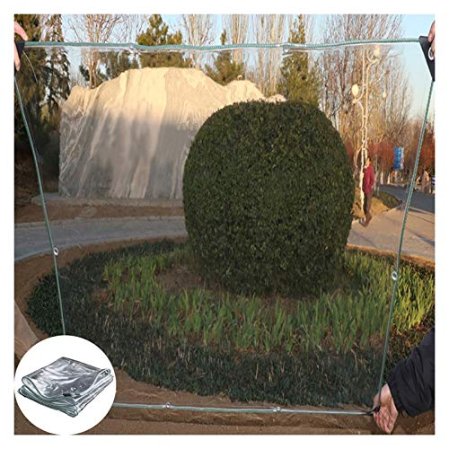 GYYARSX TarpTarpaulins Glass Clear Tarpaulin Waterproof Heavy Duty Outdoor Flower Plant Rainproof Cover, 0.3mm Thicken Transparent PVC Film, with Eyelets, 40 Sizes (Color : Clear, Size : 1.0X1.0M)