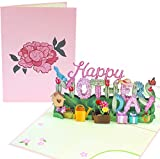 PopLife Happy Mother's Day 3D Pop Up Card - Spring Gardening Floral Theme Card - for Mom, for Wife, for Grandma, for Step-mom, for Mother-In-Law