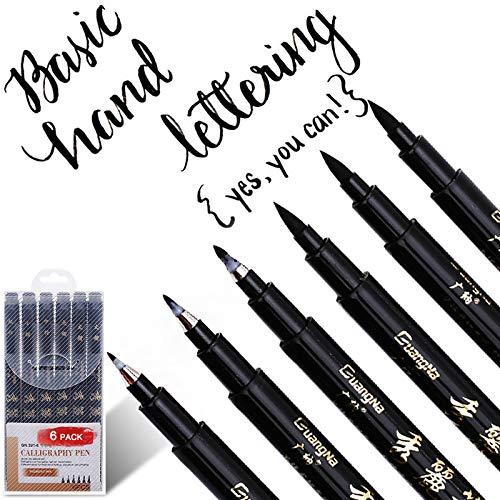 Kalligraphie Stifte, ARPDJK 6 Stück Schwarz Kalligraphie Stift mit Pinsel, Kalligraphie Set für Anfänger zum Schreiben, Beschriften, Zeichnen, Signieren, Entwerfen und Illustrieren, 4 Größen