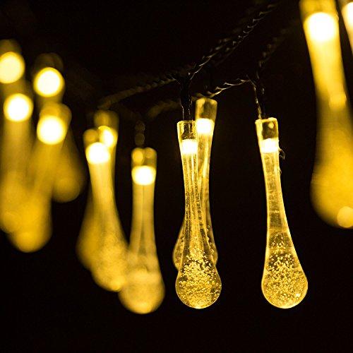 H&D Youngsun® 30er LED Solar 6,35 Meter Außen Innen Outdoor Garten Party Fest Deko Weihnachten Hochzeit Beleuchtung (warmes Weiß (Wassertropfen)