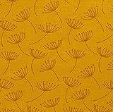 Stoff Meterware Baumwolle gelb messing Pusteblumen