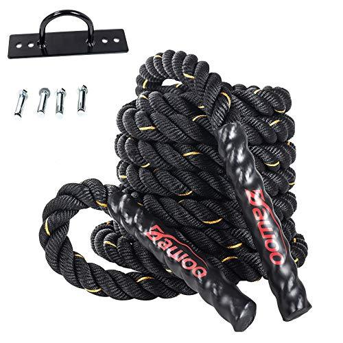 Dawoo Schlachtseil Sporttraining Kampf Seil, körperliche Fitness trainingsseil (38mm * 9 m Mit tragbarem Ankersatz)