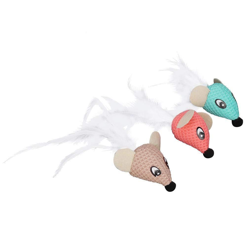 HEEPDD Juguetes de la Pluma del ratón del Gato, 6pcs Juguetes Peludos de los Ratones de Las Colas de la Pluma pequeños Juguetes Divertidos del ratón para el Gatito de los Gatos:
