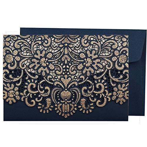 WISHMADE 50 Stück Hochzeit Einladungskarten Lasercut Spitze Hochzeit Einladungen Kit, mit blanko bedruckbar Papier und Umschläge Navy Blau- Hochzeitskarten