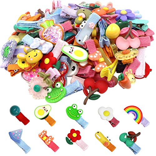 NFACE 60 Pieces Baby Girls Hair Clips Cute Animal Fruit Flower Pattern Fully Ribbon Lined Hair clips for Baby Girls Infants toddlers kids Teens