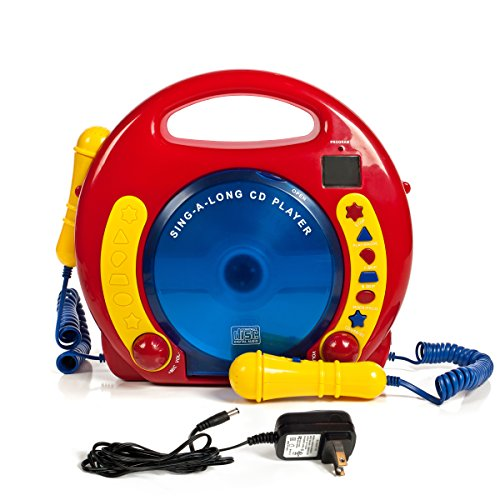 IQ Toys Anti Skip CD-USB-SD Player with 2 Microphones and AC Adapter Portable Kids Karaoke Machine Sing Along Music Player, Primary Colors