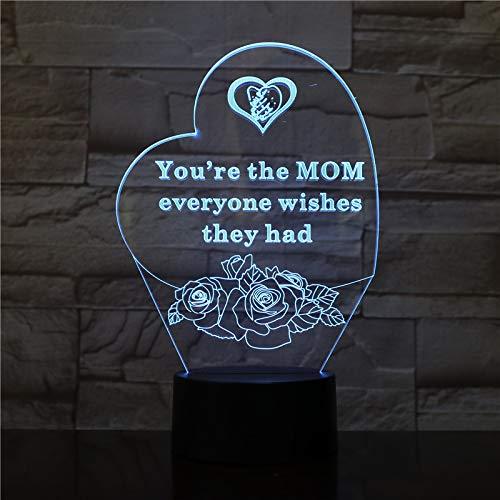 Colorful Love 3D Night Light Smart Remote Control Led Lámpara de escritorio Día de la madre para enviar a mamá Regalos creativos