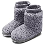 MIXIN Women's Warm Faux Indoor Outdoor Shoes, Cozy bootie slippers for women soft warm Grey, 7-8 M US