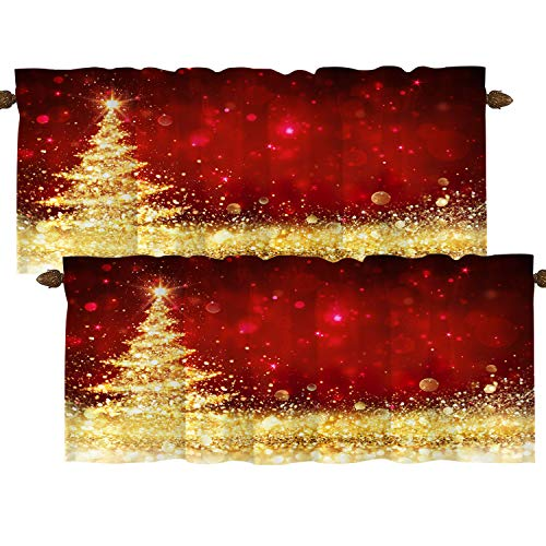 BaoNews Christmas Tree Golden Kitchen Valances Window Curtain, Red and Gold Glitter Christmas Tree Blackout Decoration Small Window Valances Curtains Drapes for Kitchen Bedroom, 52 X 18 Inch